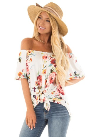 White Floral Print Off the Shoulder Button Down Top front close up