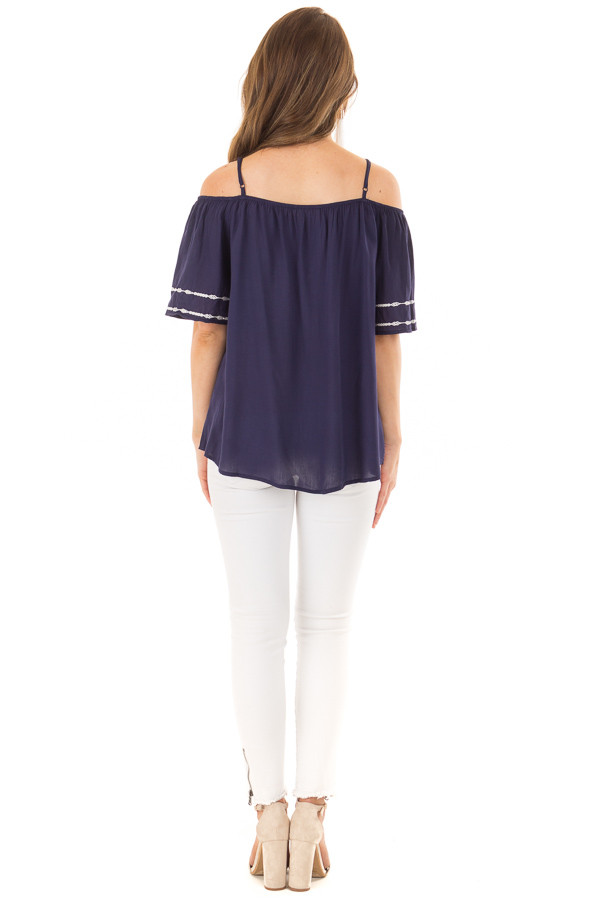 Navy Short Sleeve Top with Aztec Inspired Embroidery back full body