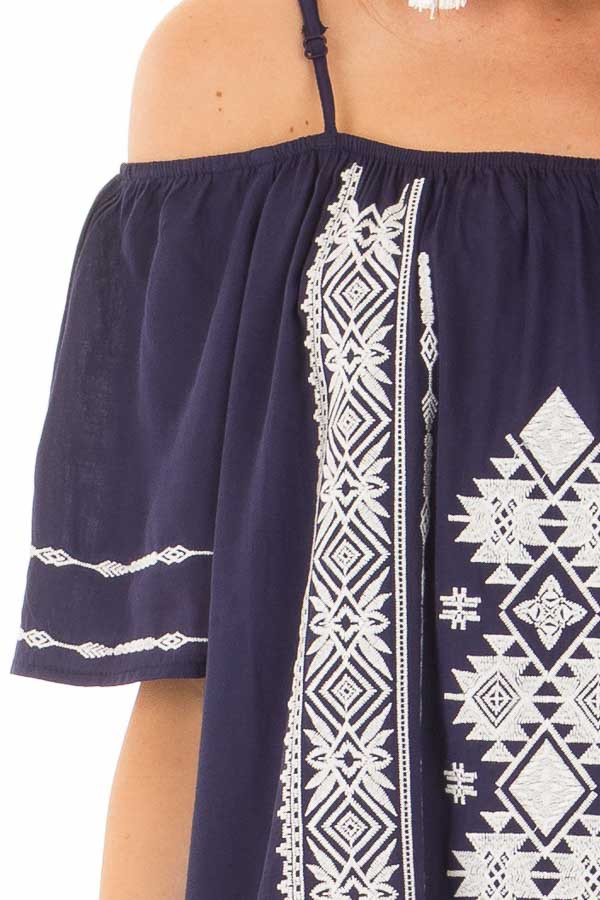 Navy Short Sleeve Top with Aztec Inspired Embroidery detail