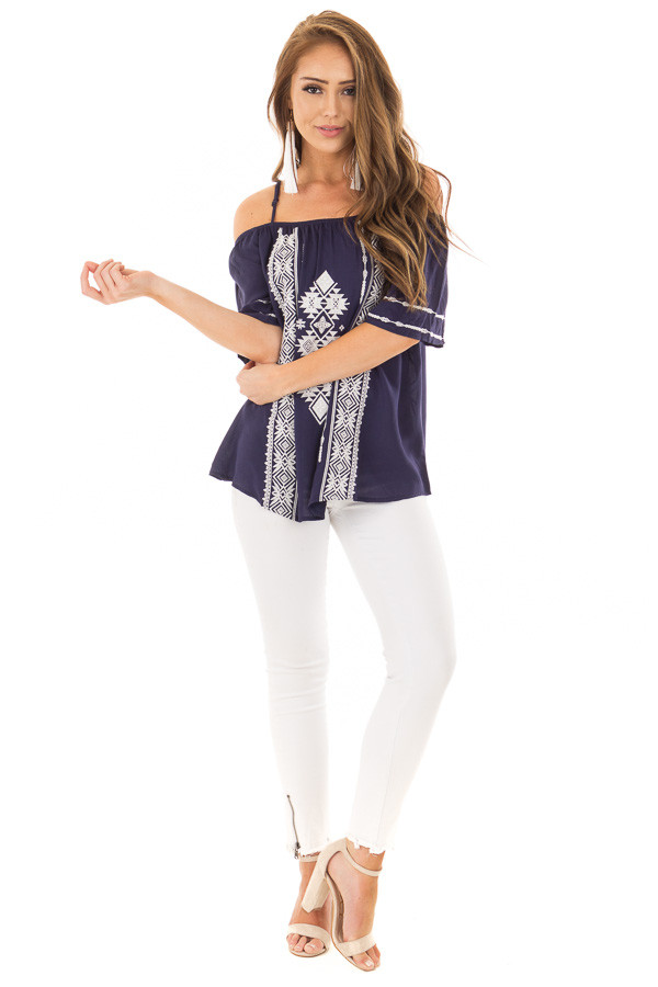 Navy Short Sleeve Top with Aztec Inspired Embroidery front full body