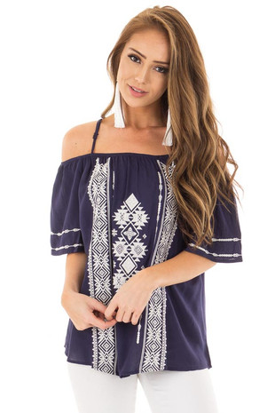 Navy Short Sleeve Top with Aztec Inspired Embroidery front close up