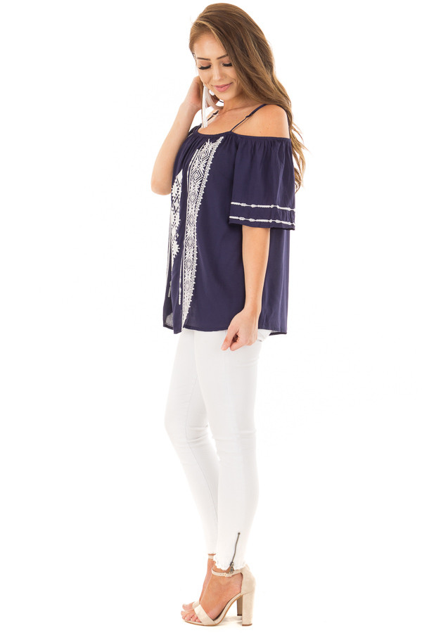 Navy Short Sleeve Top with Aztec Inspired Embroidery side full body