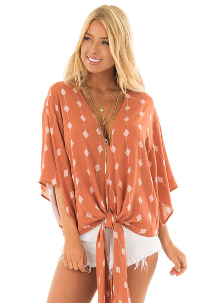 Rust Diamond Line Print Top with Front Tie Detail front close up