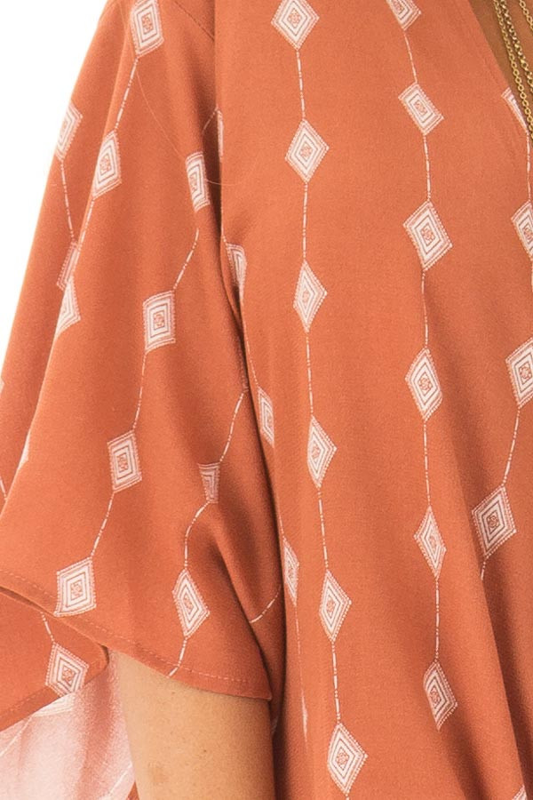 Rust Diamond Line Print Top with Front Tie Detail detail