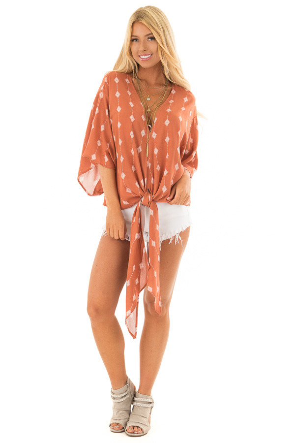 Rust Diamond Line Print Top with Front Tie Detail front full body