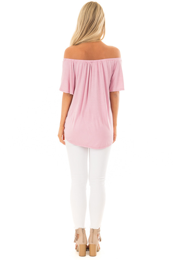 Dusty Rose Off the Shoulder Top with Button Details back full body