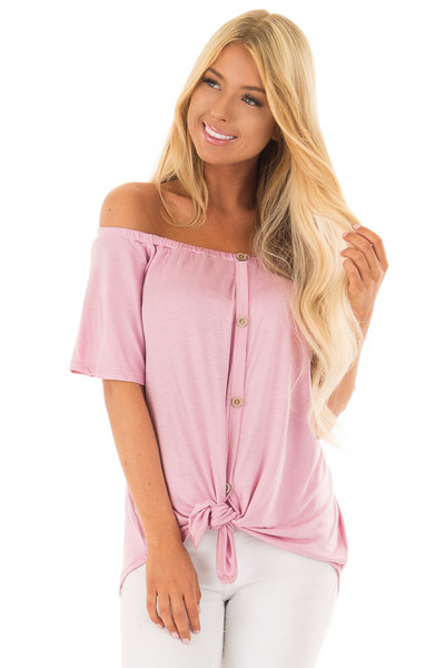 Dusty Rose Off the Shoulder Top with Button Details front close up