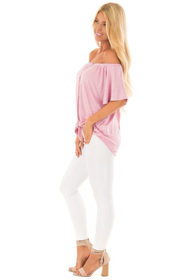 Dusty Rose Off the Shoulder Top with Button Details side full body