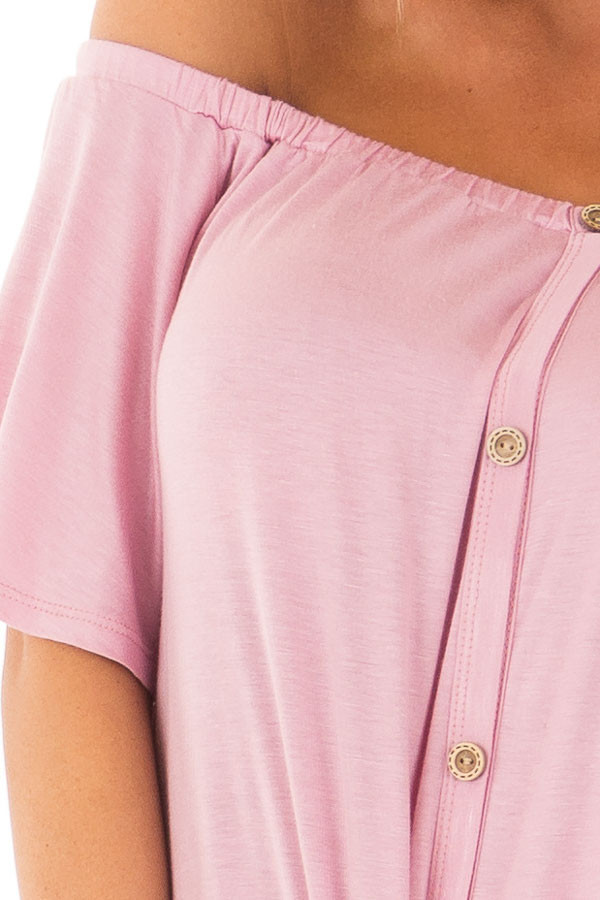 Dusty Rose Off the Shoulder Top with Button Details detail