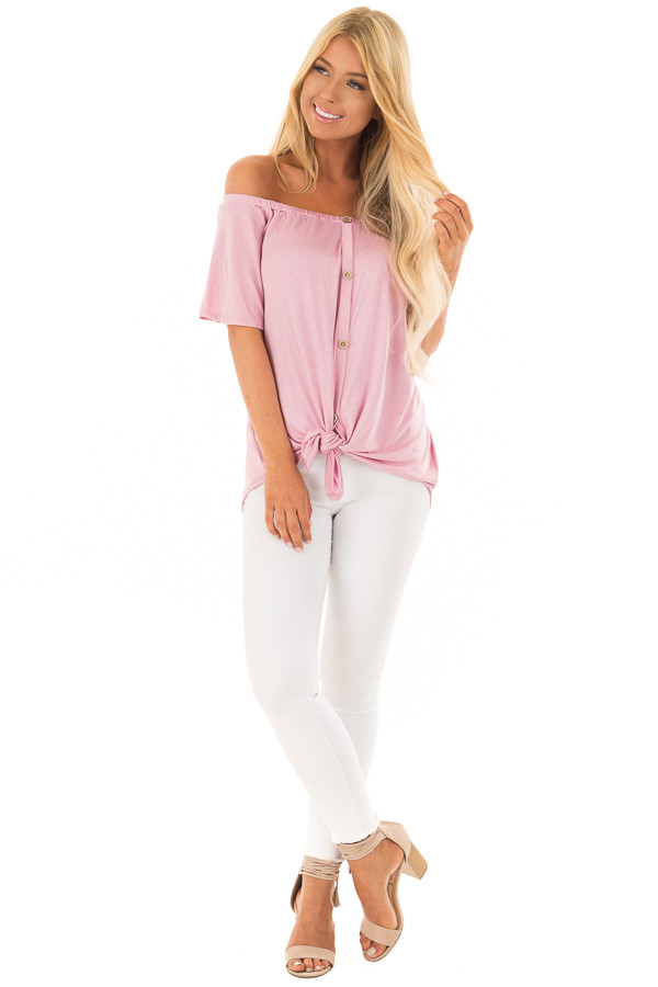Dusty Rose Off the Shoulder Top with Button Details front full body