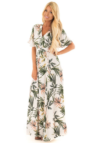 Oatmeal Palms Print Maxi Dress with Waist Tie front full body