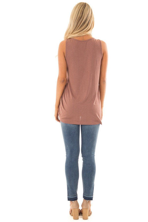 Burl Wood Tank Top with Cinched Side Tie Detail back full body