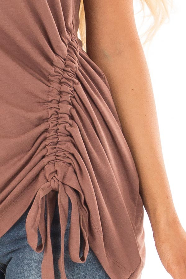 Burl Wood Tank Top with Cinched Side Tie Detail detail
