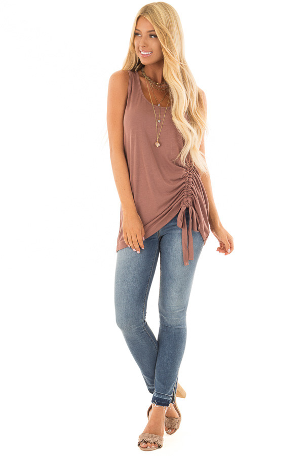 Burl Wood Tank Top with Cinched Side Tie Detail front full body
