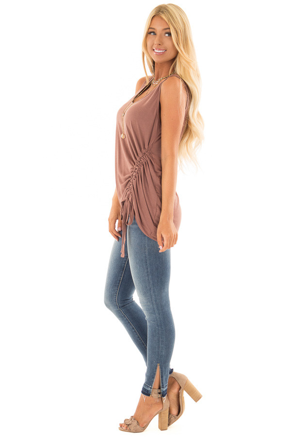 Burl Wood Tank Top with Cinched Side Tie Detail side full body