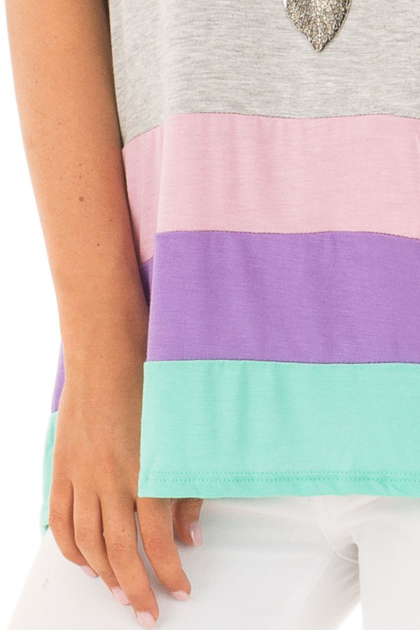 Heather Grey Color Block Short Sleeve Tee Shirt detail