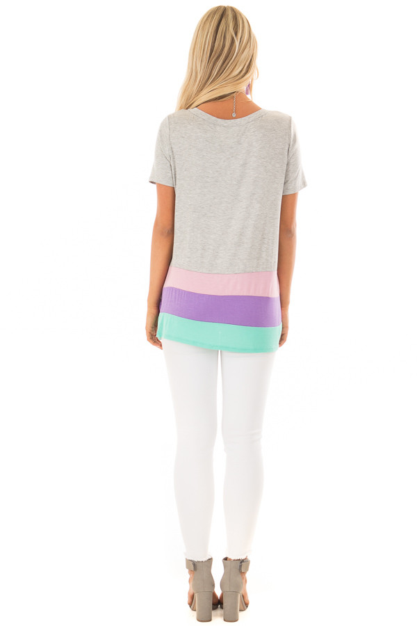 Heather Grey Color Block Short Sleeve Tee Shirt back full body