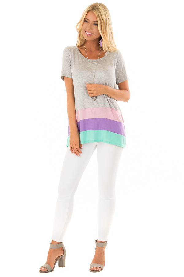 Heather Grey Color Block Short Sleeve Tee Shirt front full body
