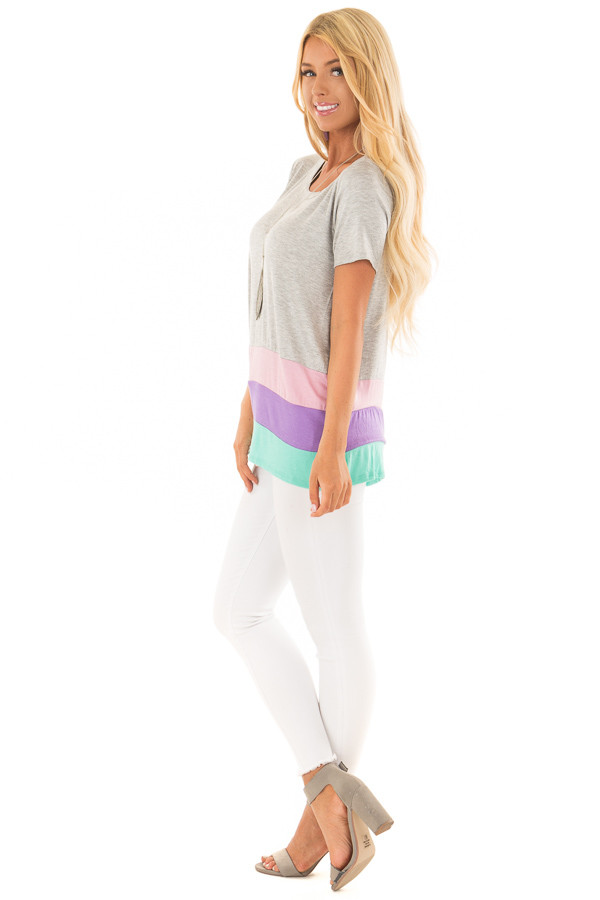 Heather Grey Color Block Short Sleeve Tee Shirt side full body
