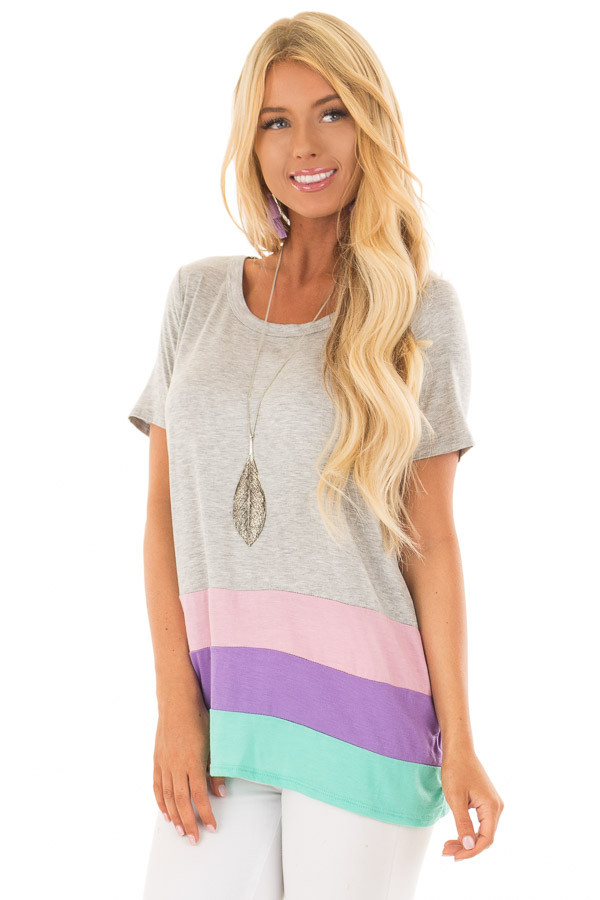 Heather Grey Color Block Short Sleeve Tee Shirt front close up