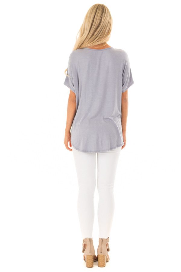 Dusty Blue Crossover Tee Shirt with Criss Cross Neckline back full body