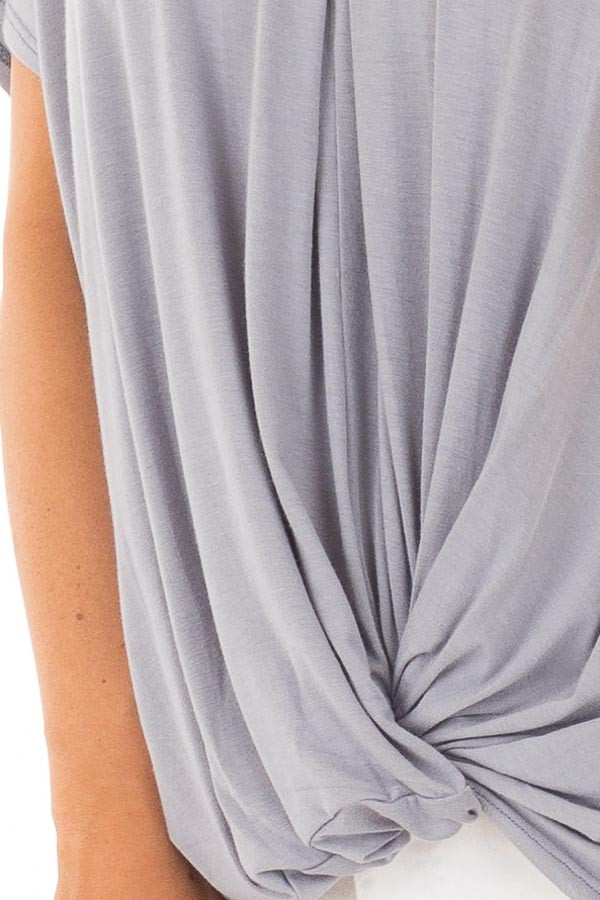 Dusty Blue Crossover Tee Shirt with Criss Cross Neckline detail