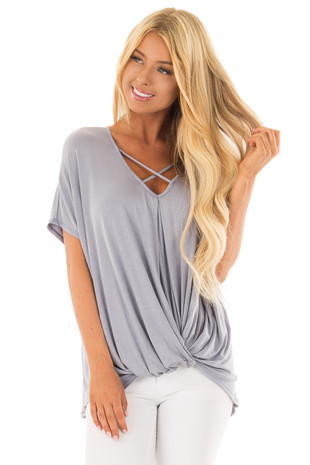 Dusty Blue Crossover Tee Shirt with Criss Cross Neckline front close up