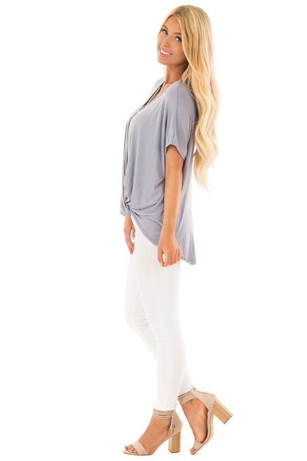 Dusty Blue Crossover Tee Shirt with Criss Cross Neckline side full body