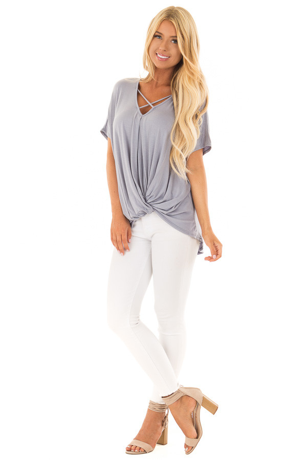 Dusty Blue Crossover Tee Shirt with Criss Cross Neckline front full body