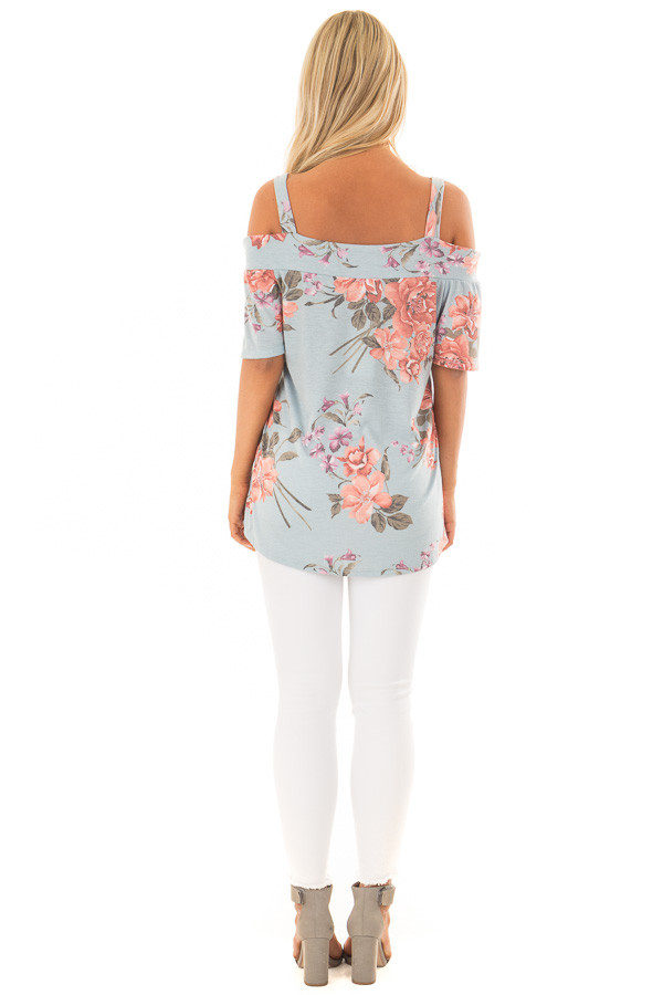 Sky Blue Floral Cold Shoulder Top with Cut Out Detail back full body