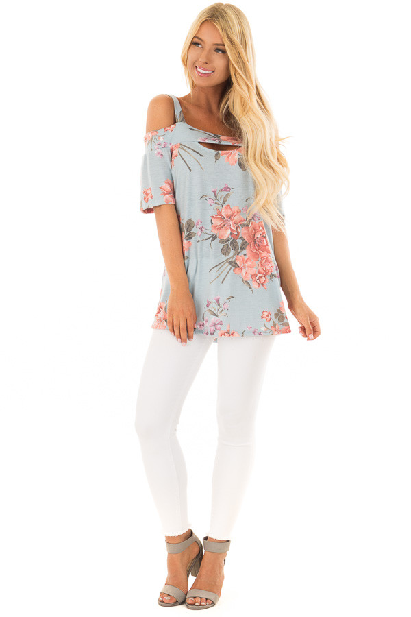 Sky Blue Floral Cold Shoulder Top with Cut Out Detail front full body