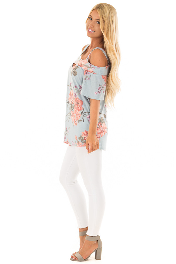 Sky Blue Floral Cold Shoulder Top with Cut Out Detail side full body