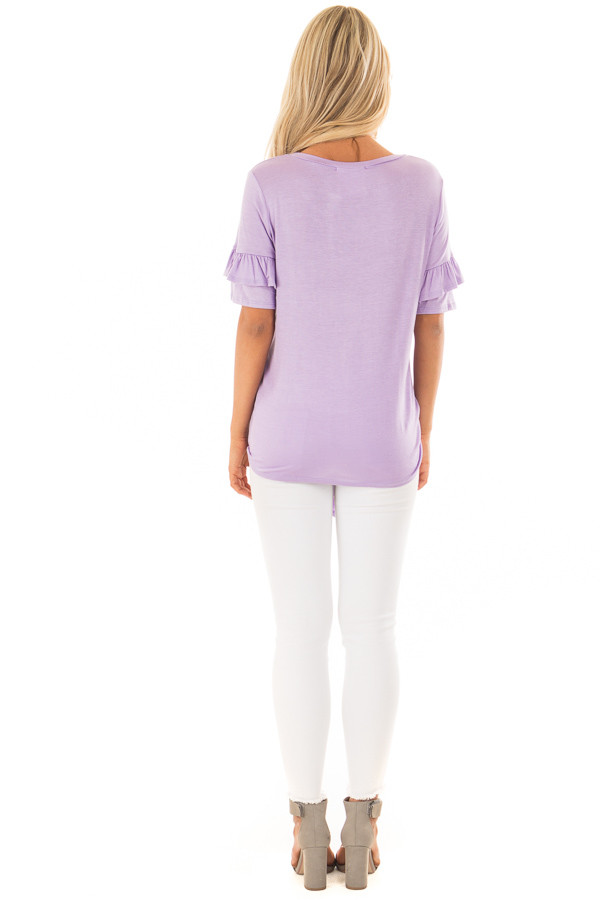 Lavender Short Sleeve Ruffle Top with Tie Detail back full body