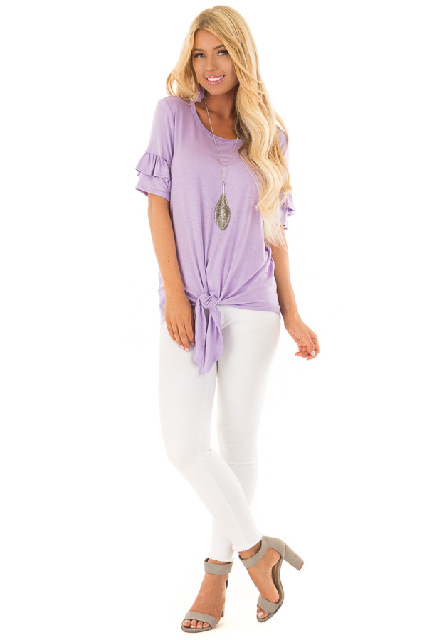 Lavender Short Sleeve Ruffle Top with Tie Detail front full body