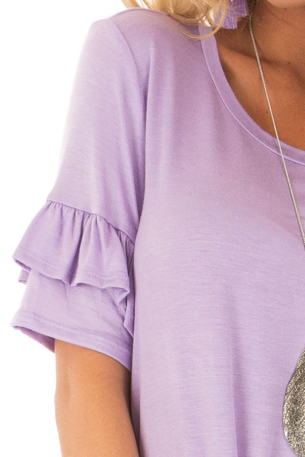 Lavender Short Sleeve Ruffle Top with Tie Detail detail