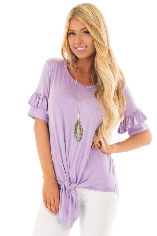 Lavender Short Sleeve Ruffle Top with Tie Detail front close up