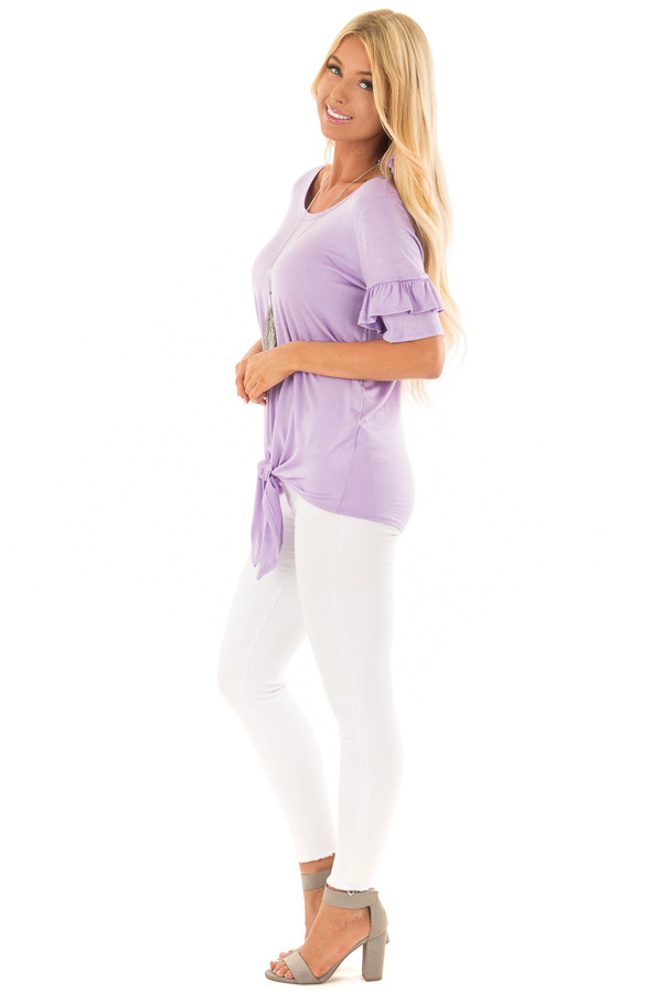 Lavender Short Sleeve Ruffle Top with Tie Detail side full body