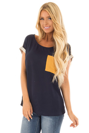 Navy Top with Light Grey Back and Mustard Contrast front close up