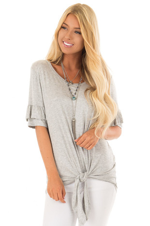 Heather Grey Short Sleeve Ruffle Top with Tie Detail front close up
