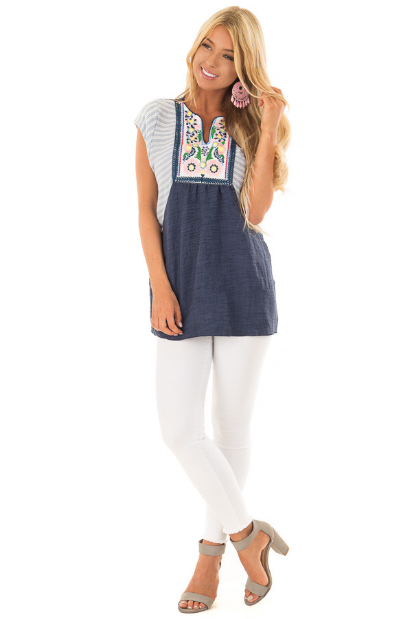 Navy Cap Sleeve Top with Multicolor Floral Embroidery front full body