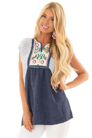 Navy Cap Sleeve Top with Multicolor Floral Embroidery front close up