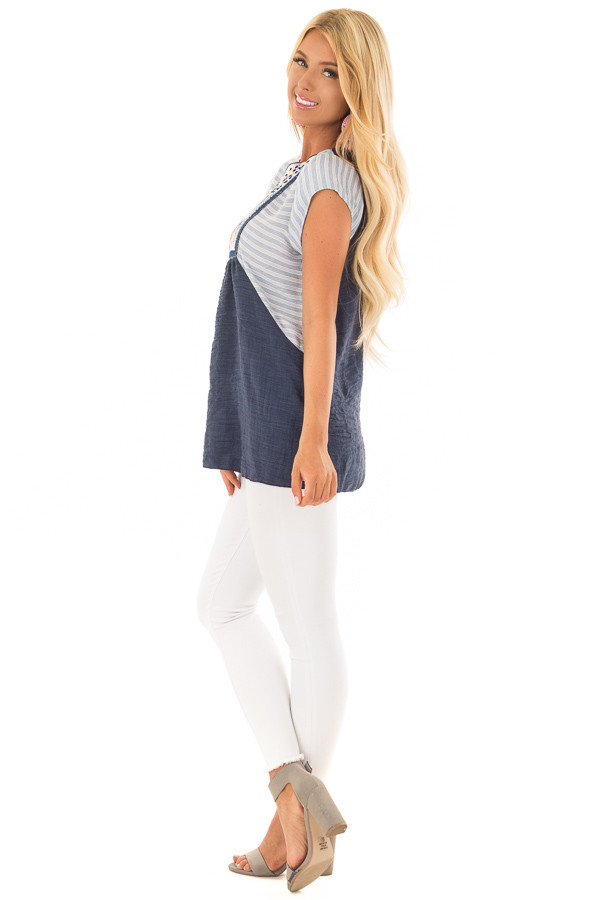 Navy Cap Sleeve Top with Multicolor Floral Embroidery side full body