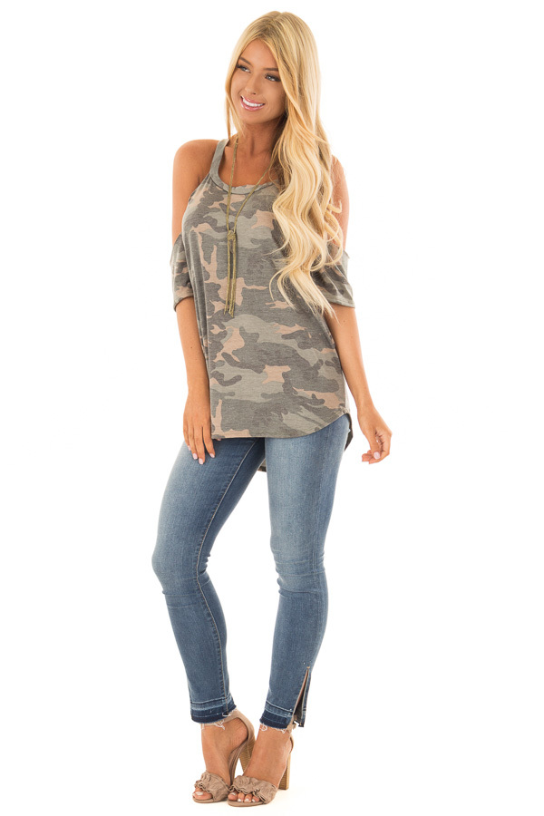 Olive Camo Print Cold Shoulder Top front full body
