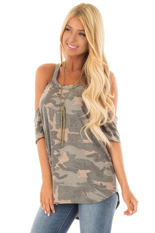 Olive Camo Print Cold Shoulder Top front close up