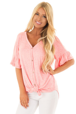 Hot Pink Two Tone  Button Up Top with Ruffle Sleeves front close up