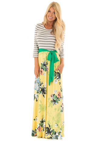 Yellow Floral Maxi Dress with Charcoal Striped 3/4 Sleeves