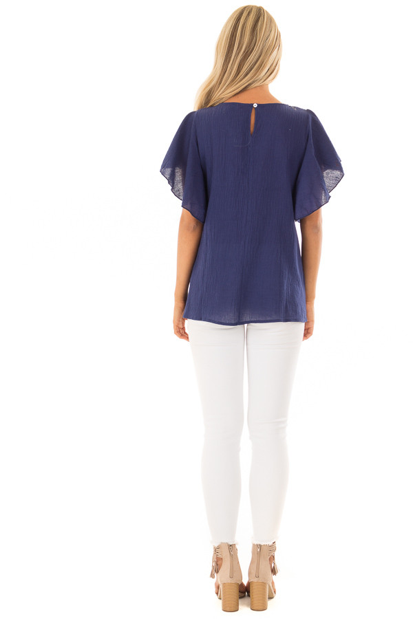 Navy Short Sleeve Embroidered Top with Ruffle Sleeves back full body