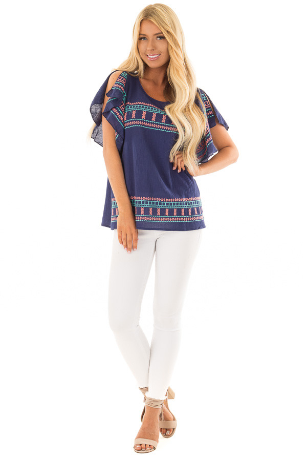 Navy Short Sleeve Embroidered Top with Ruffle Sleeves front full body