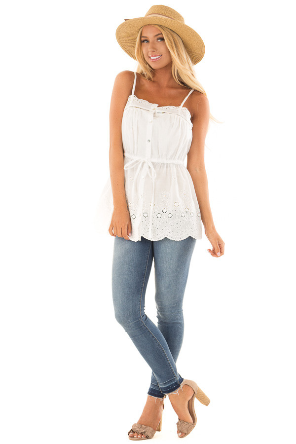 Off White Tank Blouse with Sheer Crochet Details front full body