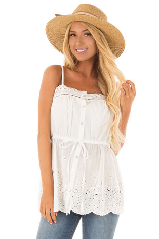 Off White Tank Blouse with Sheer Crochet Details front close up